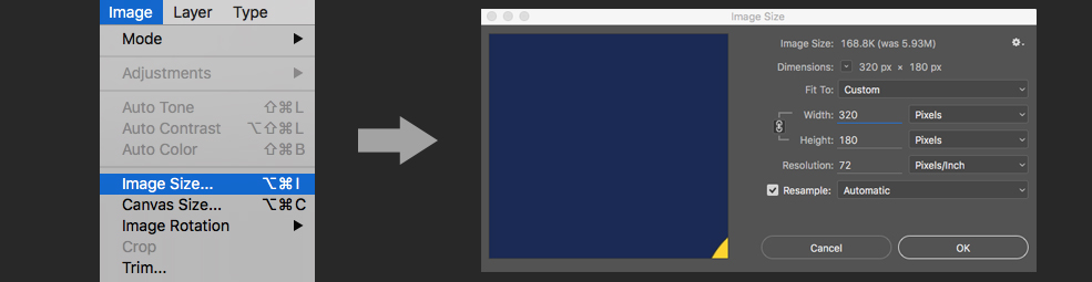 Making Animated GIFs From After Effects Comps: Photoshop resize