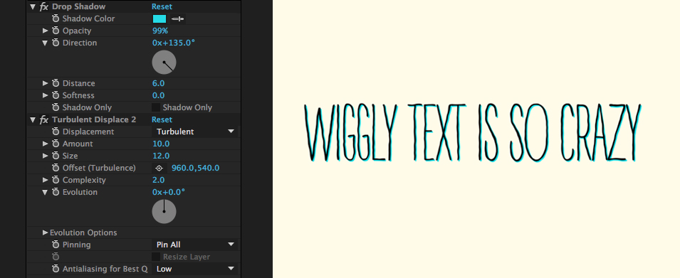 How to Create Hand-Written Wiggly Text in After Effects: Displaced Menu