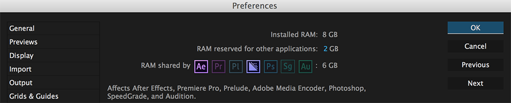 5 Life-Changing Ways to Speed Up After Effects - Dedicating RAM in After Effects