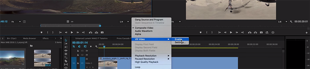 How to Edit VR Footage in Premiere Pro and Export for YouTube - Preview Window