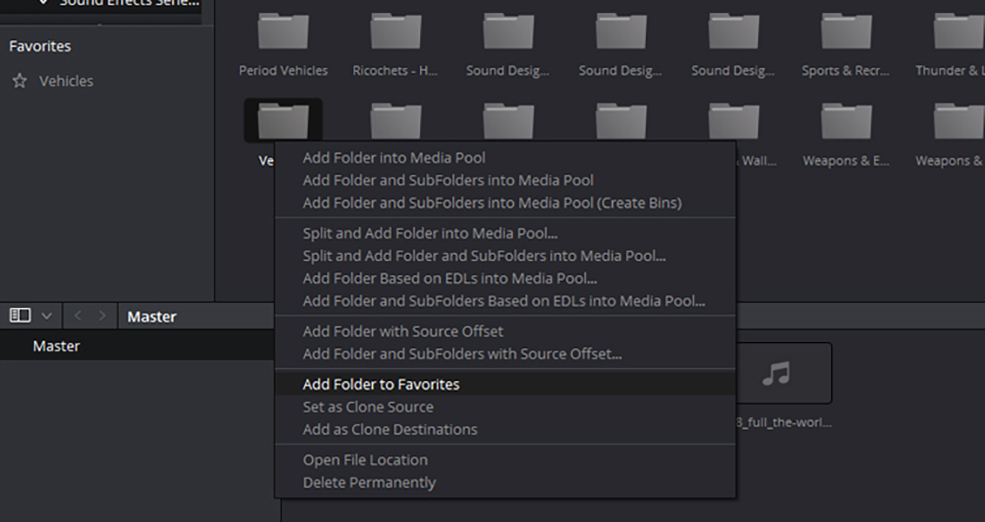 Video Editing Tips: Speed Up Your Editing in DaVinci Resolve - Favorites Folder