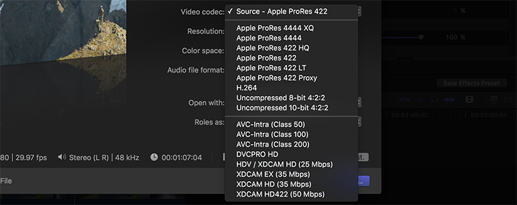 How to Export Video in Final Cut Pro - Choose the right codec