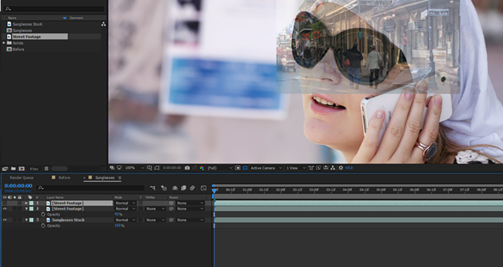 How To Change The Reflections in Sunglasses Using After Effects — Step Two