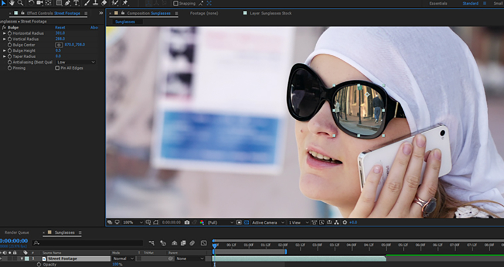 How To Change The Reflections in Sunglasses Using After Effects — Step 3
