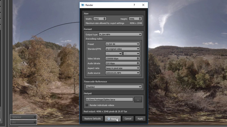 How to Stitch 360 Videos with AutoPano Video Pro — Render Settings