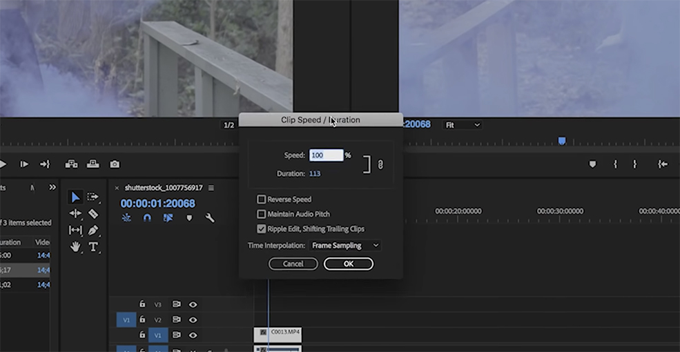 how to change speed of a clip on premiere