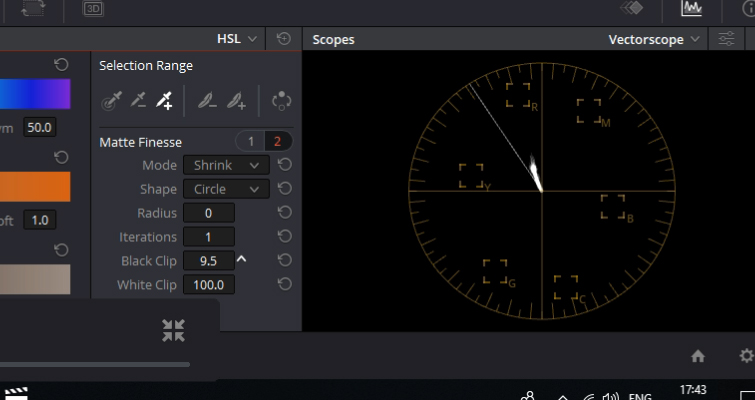 DaVinci Resolve Color Grading and Color Correction Walkthrough — Vectorscope