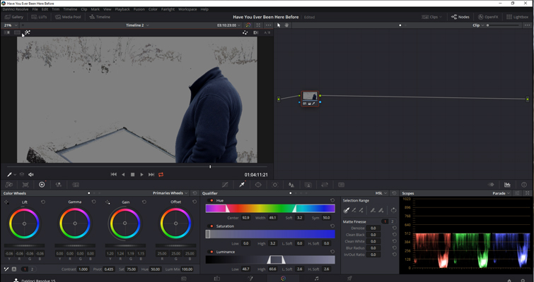DaVinci Resolve Color Grading and Color Correction Walkthrough — Qualification Tool