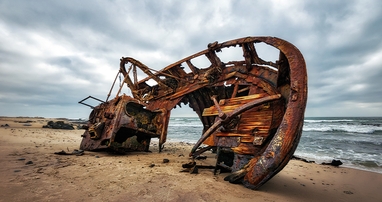 Rusted Shipwreck on the Shore