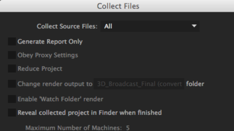 After effects Errors and How to Fix Them: Collect Files Menu