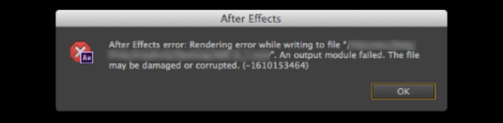 After effects Errors and How to Fix Them: Output Module Failed
